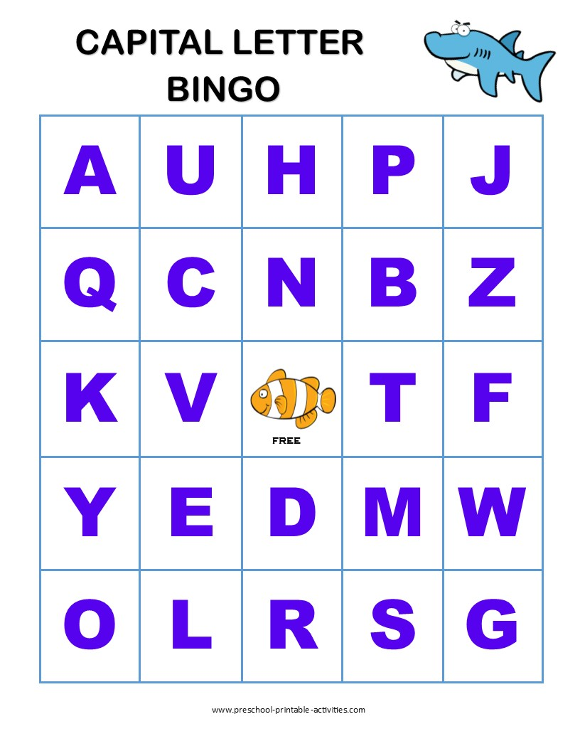 letter recognition bingo games alphabet free printable capital easter crafts with paper coloring pages Alphabet Bingo Free Printable