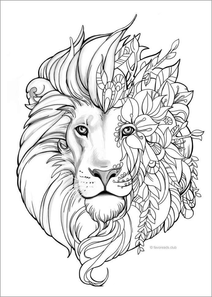 lion head coloring for adults coloringbay crayola art set color by numbers worksheets coloring pages Lion Face Coloring Page