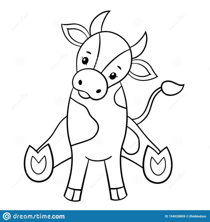 little bull coloring stock vector illustration of cute symbol happy halloween sheets coloring pages Bull Coloring Page