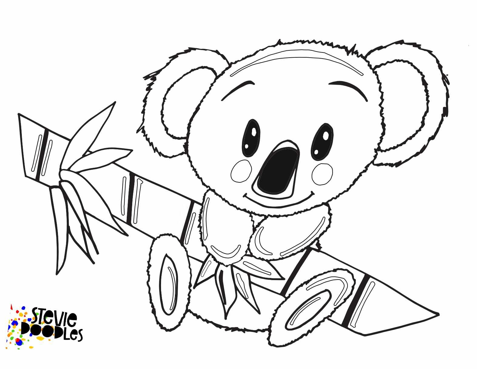 little koala with free printable coloring stevie doodles brush gel pen scent to putty coloring pages Australia Coloring Page