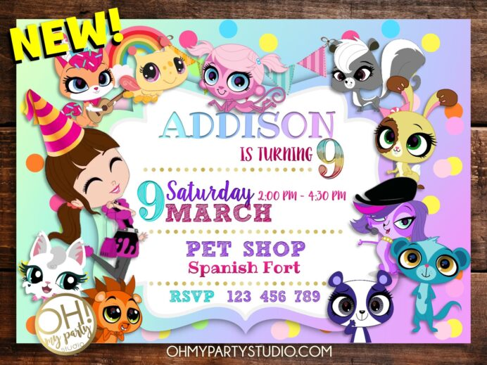 littlest pet shop birthday invitation oh my party studio invitations printable free coloring pages Littlest Pet Shop Birthday Invitations Printable Free
