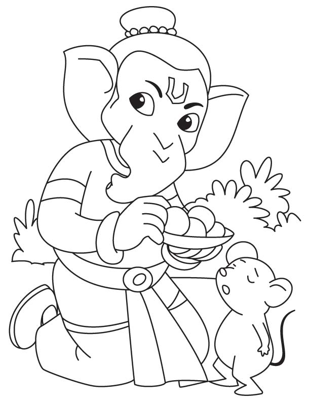 lord ganesha eating laddu coloring free for kids best comets drawing light pale coloring pages Ganesha Coloring Page