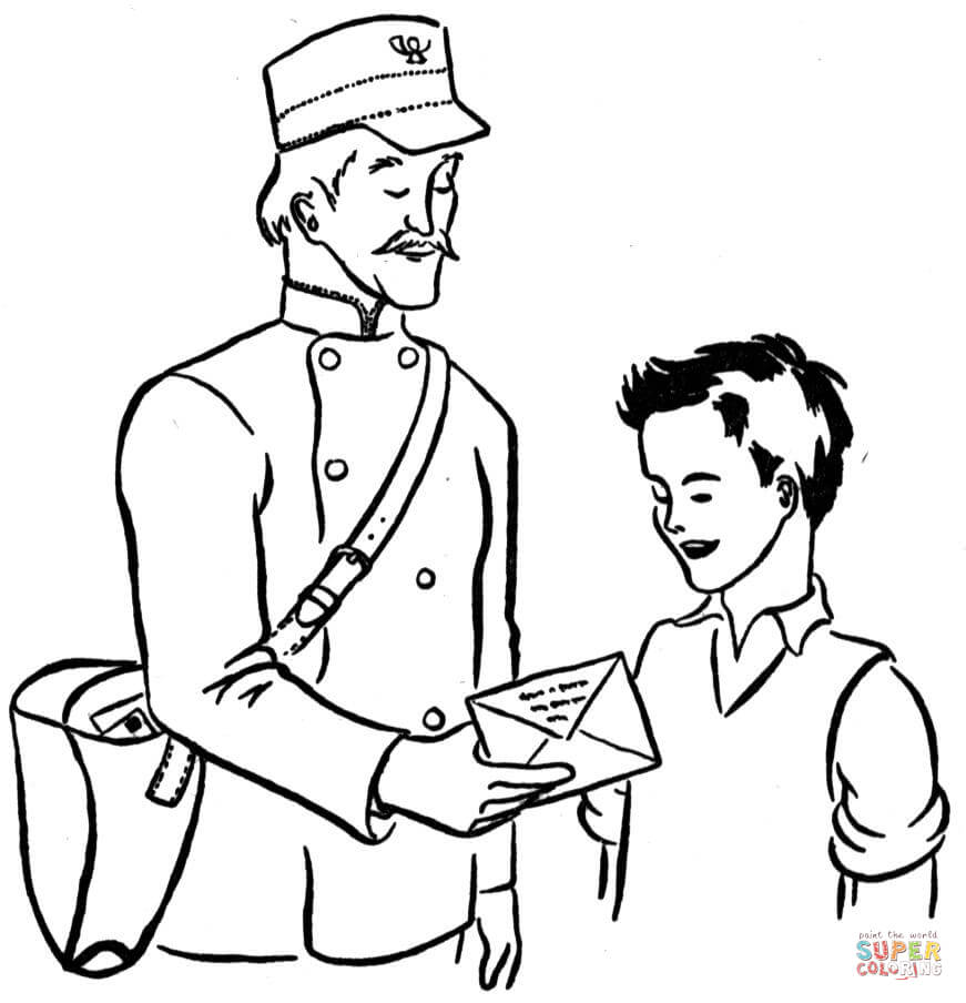 mailman coloring free printable family drawing easy kitties the crayons christma native coloring pages Mailman Coloring Page