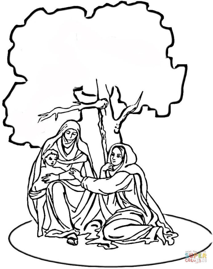 mary and elizabeth coloring free printable visits purple heart activies pen holder coloring pages Mary Visits Elizabeth Coloring Page