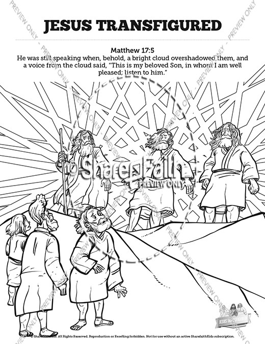 matthew the transfiguration sunday school coloring sharefaith kids jesus mouseover3 coloring pages Jesus Transfiguration Coloring Page
