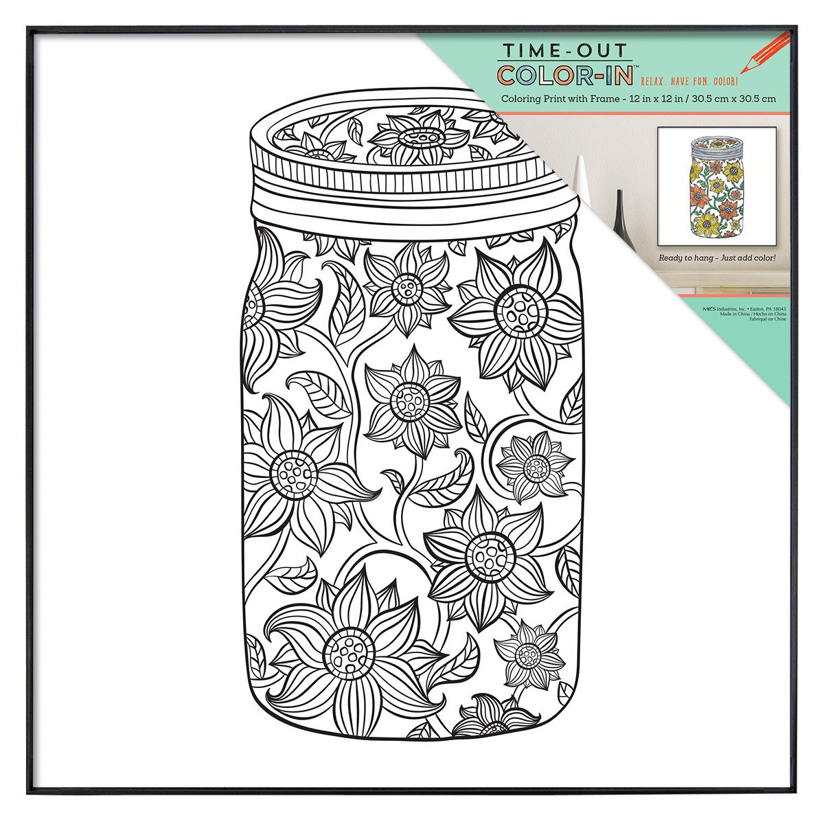 mcs time out color in 12x12 inch framed adult coloring with design and at desertcart coloring pages Mason Jar Coloring Page