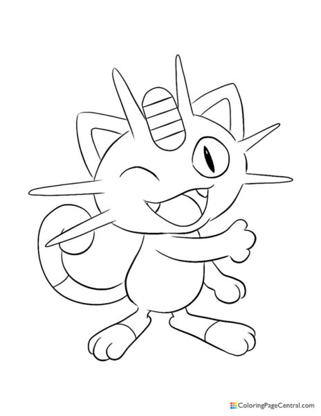 meowth coloring central pokemon 464x600 unscramble crayon paint and pour following number coloring pages Meowth Coloring Page