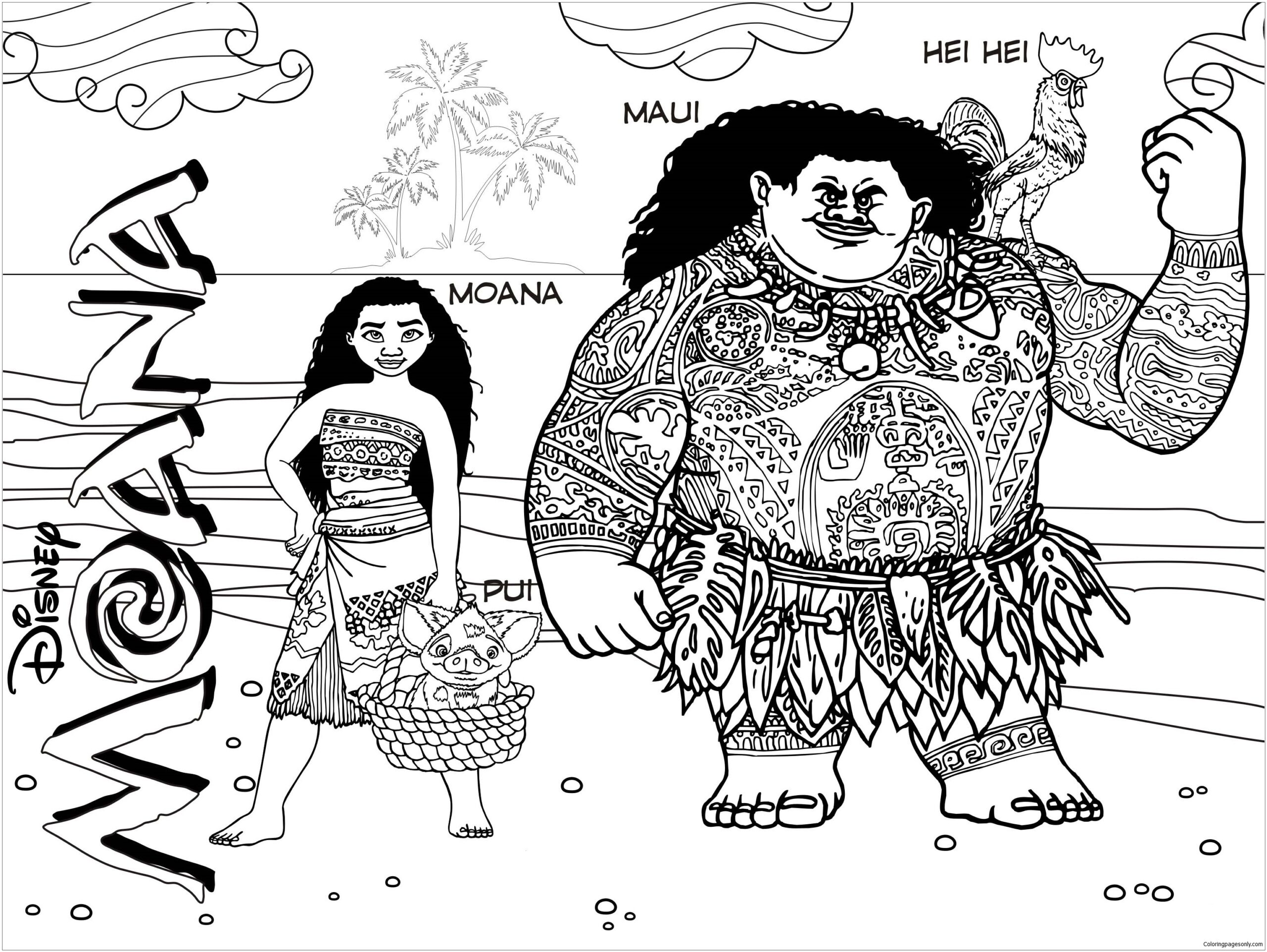 moana and coloring cartoons for kids adults fuschsia color clothing scribble fall mehndi coloring pages Maui Coloring Page