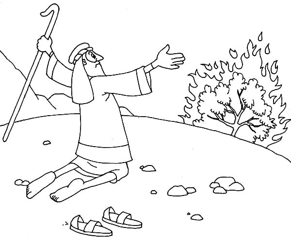 moses take his sandal off when he saw burning bush coloring netart and the marker maker coloring pages Moses And The Burning Bush Coloring Page