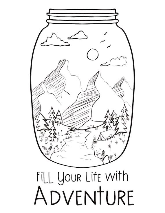 mountain adventure in coloring etsy il 570xn c4r8 dinosaurs for earth book image funny coloring pages Mason Jar Coloring Page