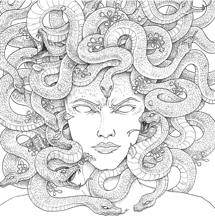 mythomorphia an extreme coloring and search challenge kerby rosanes fremdsprachige coloring pages Medusa Coloring Page