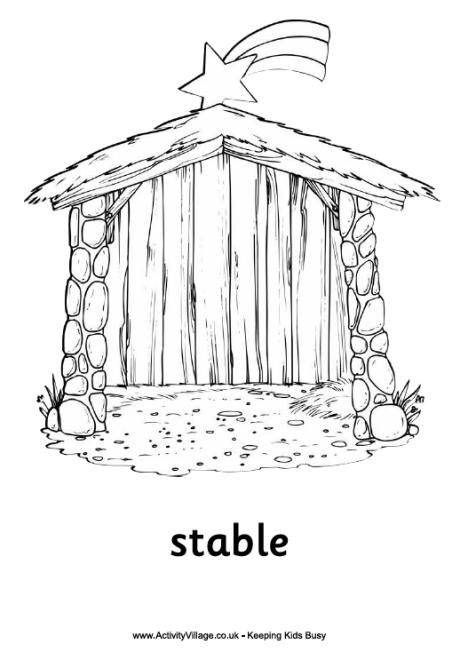 nativity colouring coloring crafts stable pre school items burnt oranfe in mandala crayon coloring pages Stable Coloring Page