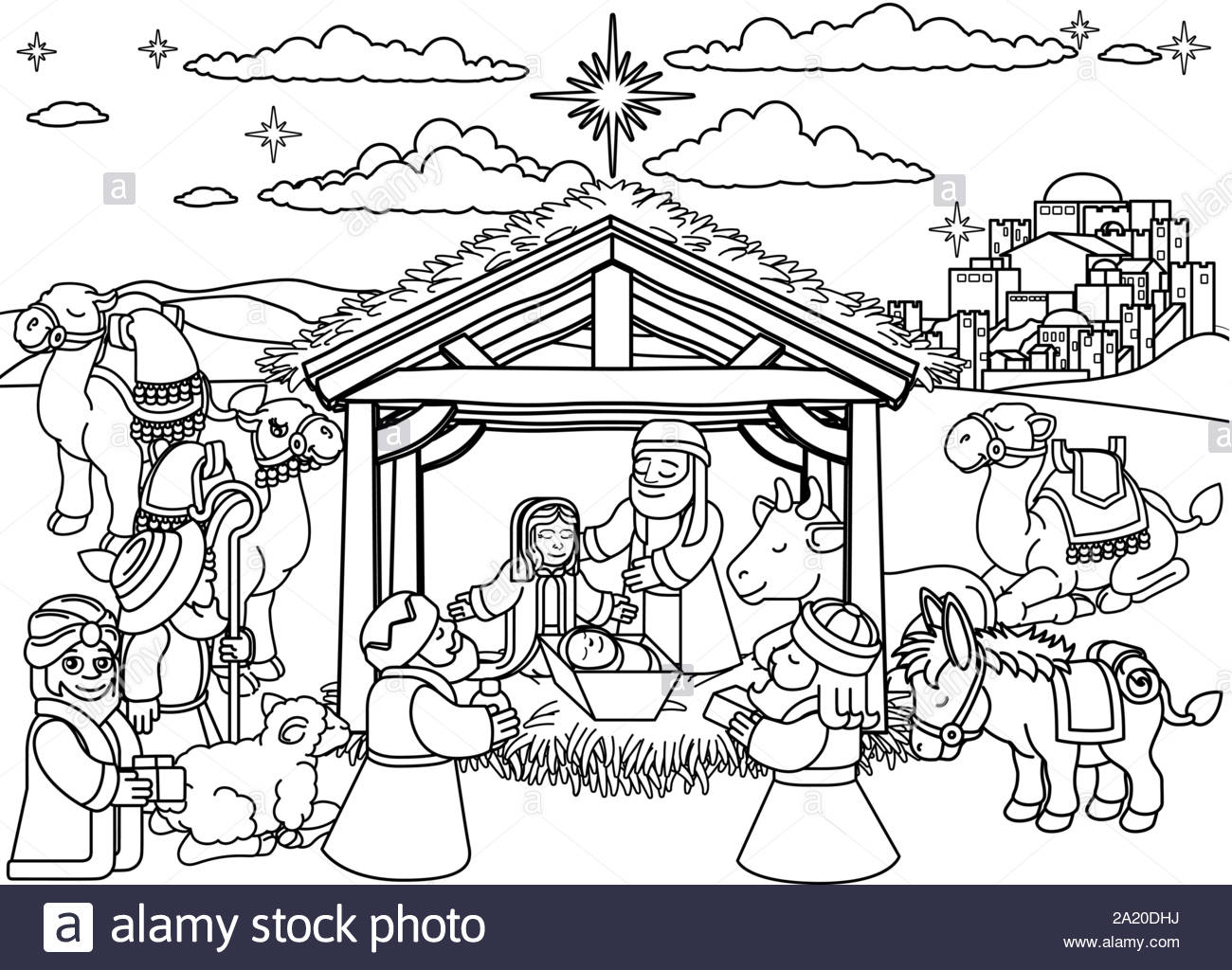 nativity scene christmas stock vector image art manger coloring 2a20dhj free pdf format coloring pages Manger Scene Coloring Page