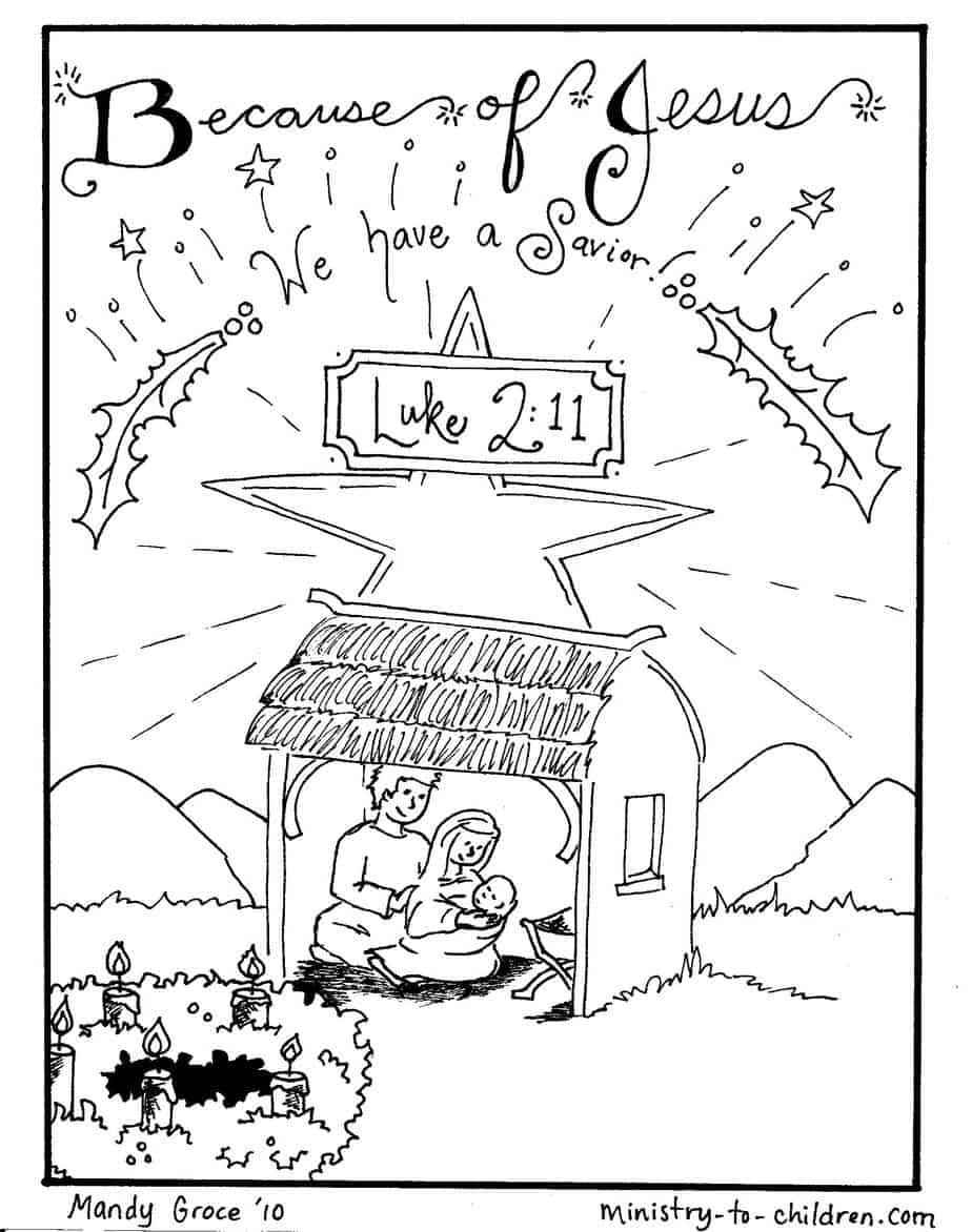 nativity scene coloring jesus is here ministry to children manger crosshatching shading coloring pages Manger Scene Coloring Page