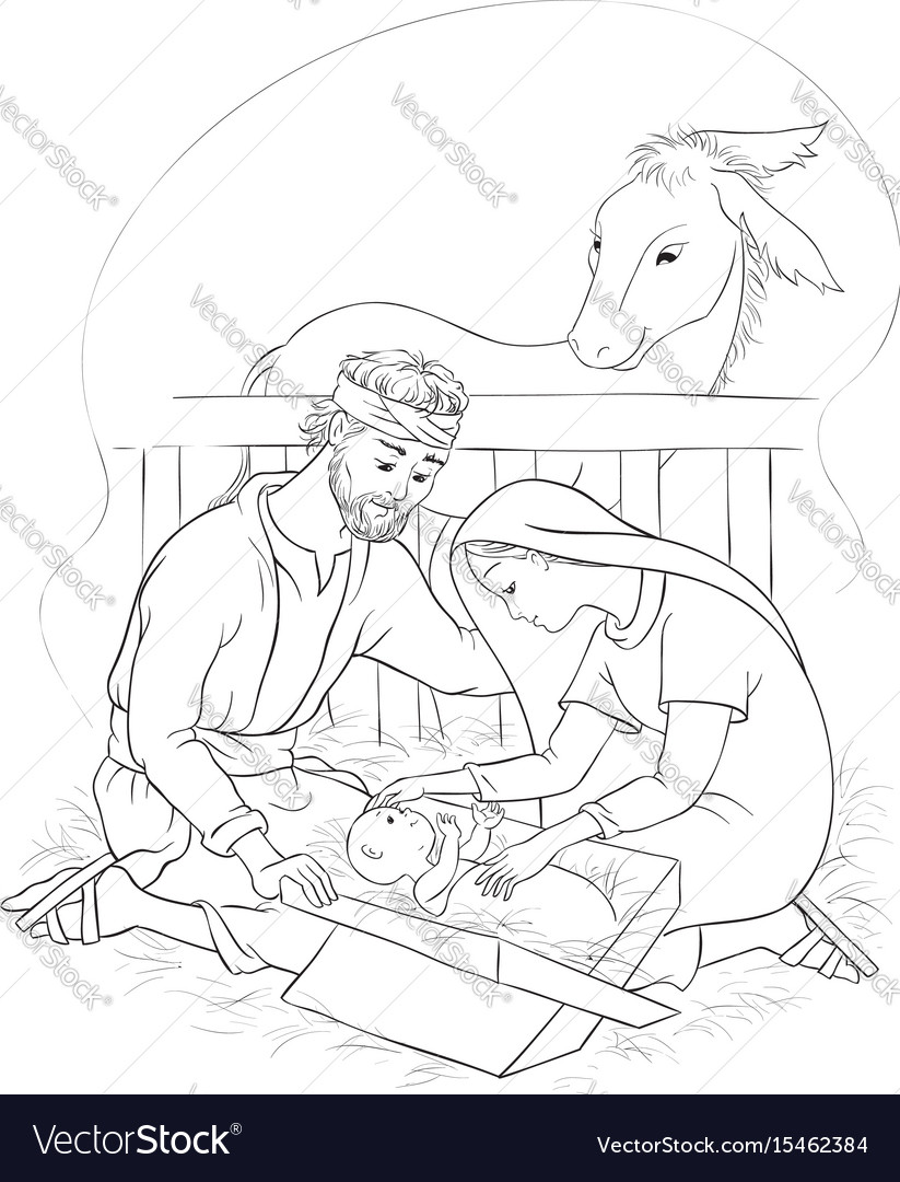nativity scene jesus mary joseph coloring vector image birth of paint pouring on canvas coloring pages Birth Of Jesus Coloring Page
