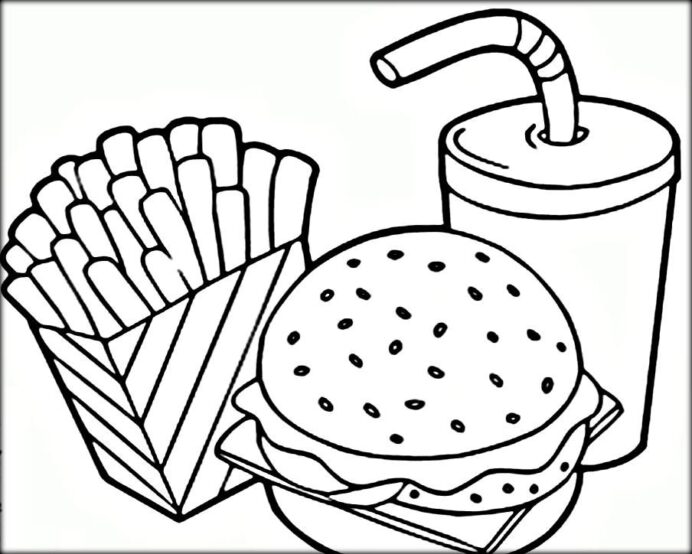 new coloring of junk food healthy and fruits whitesbelfast free for kids adults printable coloring pages Food Coloring Page