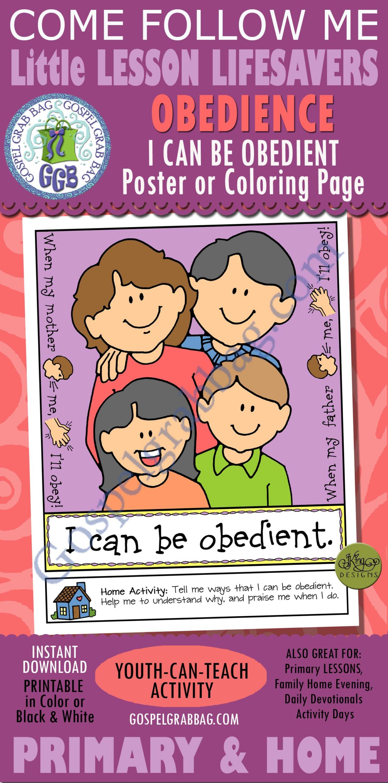 obedience primary lesson helps nursery obey sunbeam can obedient gospel grab bag coloring coloring pages I Can Be Obedient Coloring Page