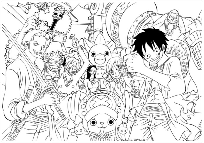 one piece to color for kids coloring children about plants by numbers worksheets free coloring pages One Piece Coloring Page