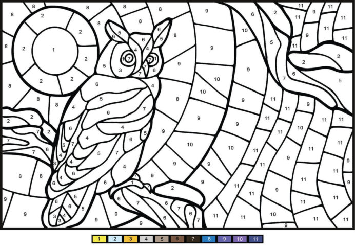 owl color by number coloring free printable for kids sketch kit halloween sign cauldron coloring pages Number Coloring Page