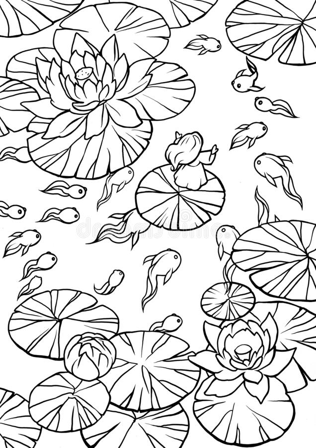 pad pond stock illustrations vectors clipart dreamstime lilly coloring illustration coloring pages Lilly Pad Coloring Page
