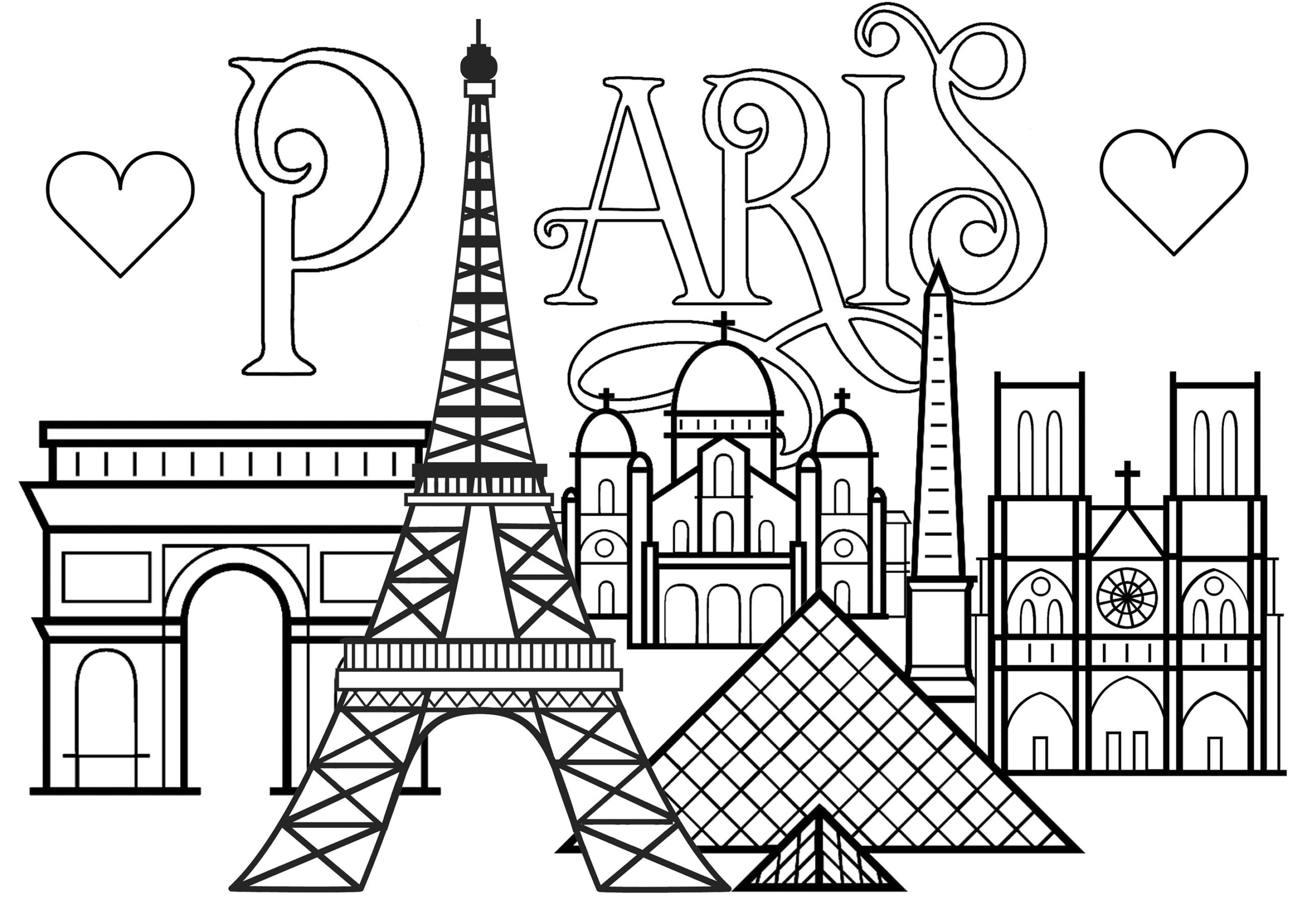 paris famous monuments and text adult coloring animal poppers fantasy glitter glue crafts coloring pages Paris Coloring Page