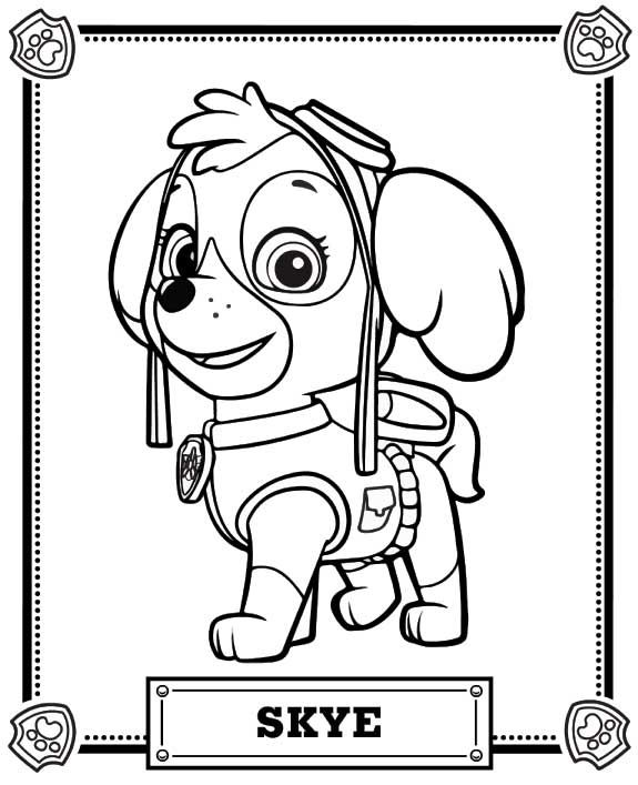paw patrol coloring skye party sheet monster truck crayon box olaf and elsa butterfly coloring pages Skye Coloring Page