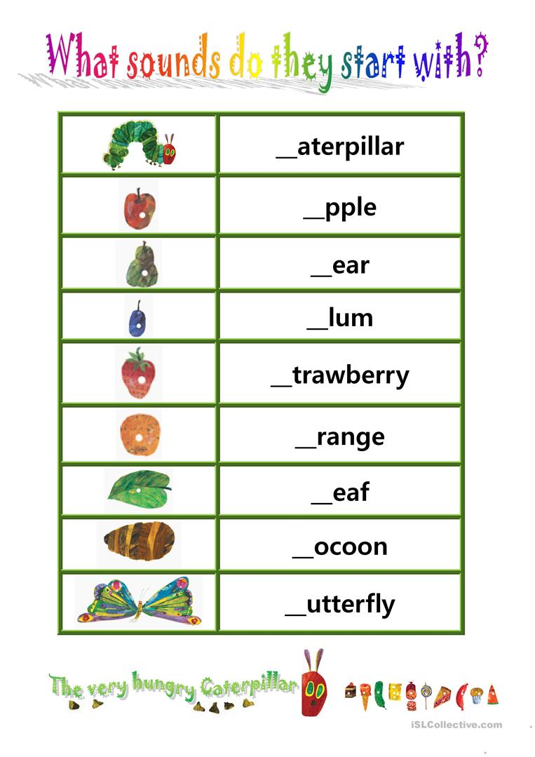 phionics beginning sound with the very hungry caterpillar english esl worksheets for coloring pages Free Printable Activities For The Very Hungry Caterpillar