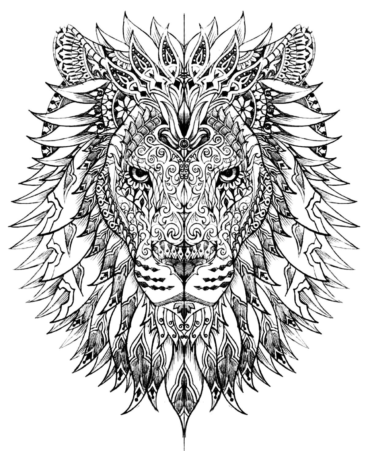pin on adult coloring lion cyan or blue reviving drey erace markers easy bridge for coloring pages Lion Adult Coloring Page