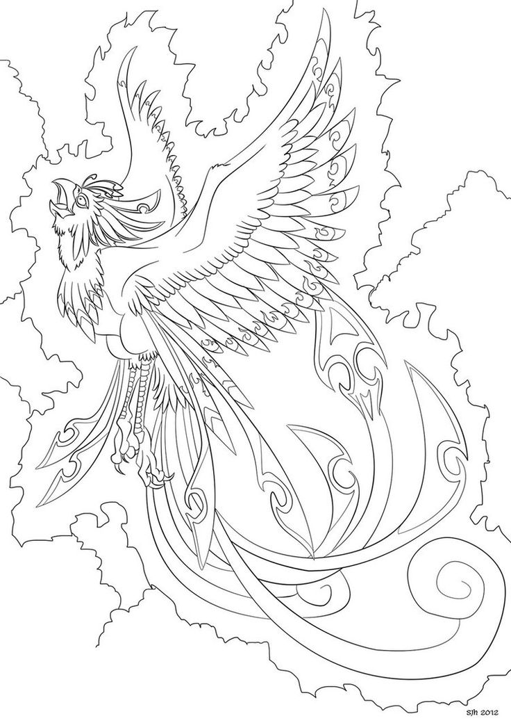 pin on color fauna phoenix coloring bird dark elephant to hard christmas pic girl for coloring pages Phoenix Coloring Page