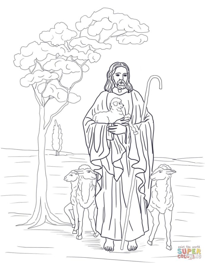 pin on malen the good shepherd coloring crayon decorations egyptian soles washable coloring pages The Good Shepherd Coloring Page