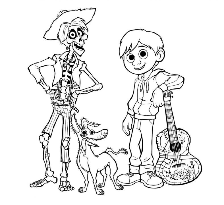 pixar coco coloring disney 788x721 toddler games steam elephant ear animal candy cane coloring pages Coco Coloring Page