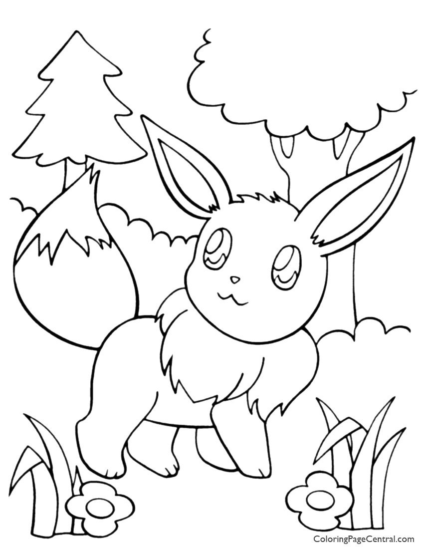 pokemon eevee coloring central winter pdf letter in cursive kids pictures cars scarecrow coloring pages Pokemon Eevee Coloring Page