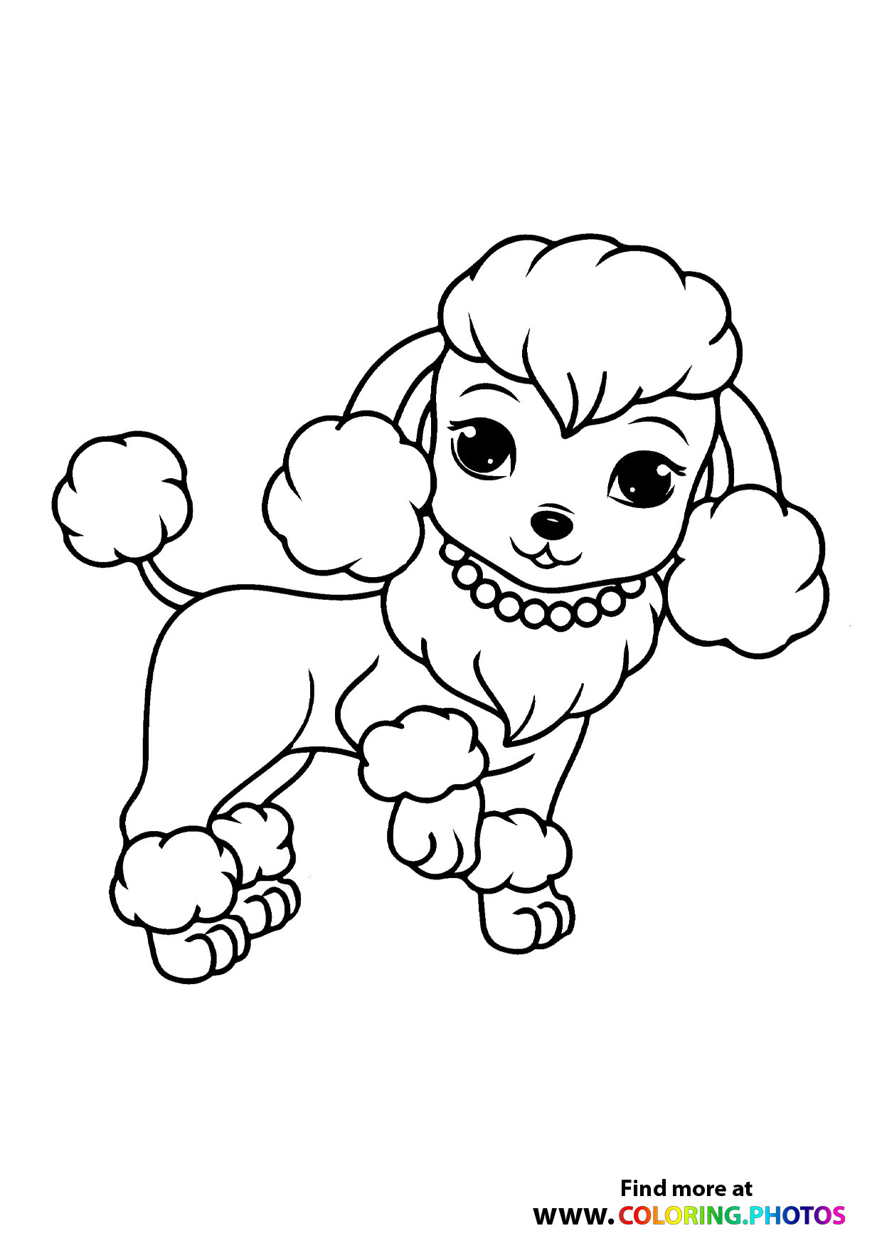 poodle dog with necklase coloring for kids cute washable chalk paint printable ants books coloring pages Poodle Coloring Page