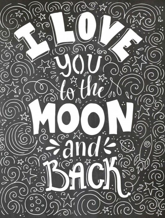 poster op krijtbord you to the moon voor kleurplaten illustraties and back coloring color coloring pages Love You To The Moon And Back Coloring Page