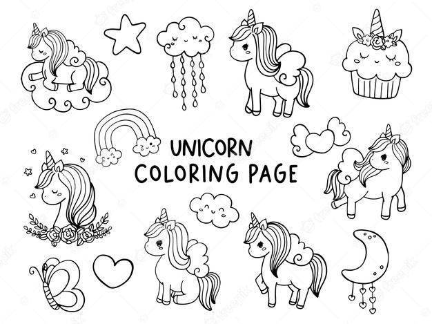 premium vector unicorn coloring illustration of sheets for girls crayola colored pencils coloring pages Coloring Page Of Unicorn