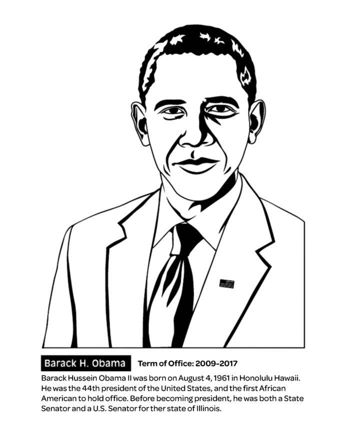 president barack obama coloring crayola youth crayon shirt color pencils by number sheet coloring pages Obama Coloring Page
