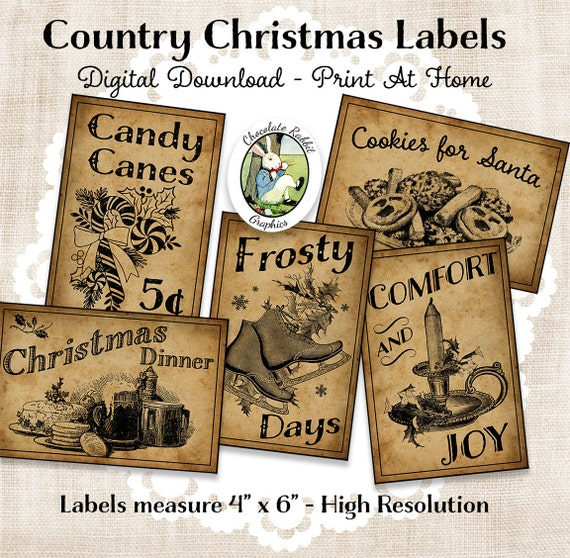 primitive country christmas labels printable tags etsy free il 570xn jso1 watercolor coloring pages Free Printable Primitive Labels