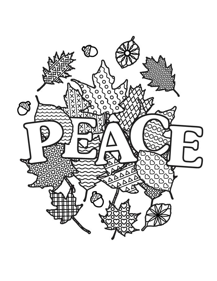 printable adult coloring of hope peace dreams happiness color mandala book leaf man coloring pages Peace Coloring Page
