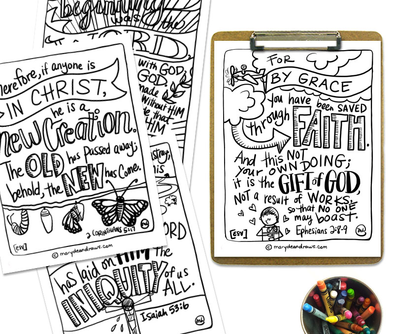printable bible verse coloring cards good news english romans marydeandraws coloringpages coloring pages Romans 6:23 Coloring Page