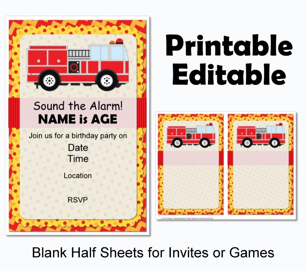 printable instant fire truck birthday party invitations and decorations paper supplies coloring pages Free Printable Fire Truck Birthday Invitations