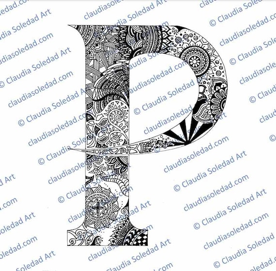 printable mandala letter coloring etsy il 570xn q7j4 diy thanksgiving crafts halloween coloring pages Letter P Coloring Page