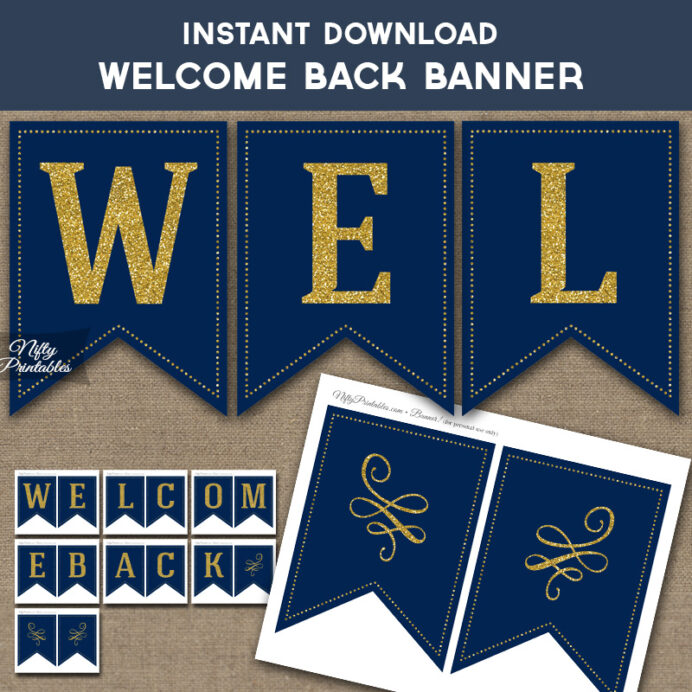 printable welcome back navy blue gold free welcomebackban letters in cursive capital coloring pages Welcome Back Banner Printable Free