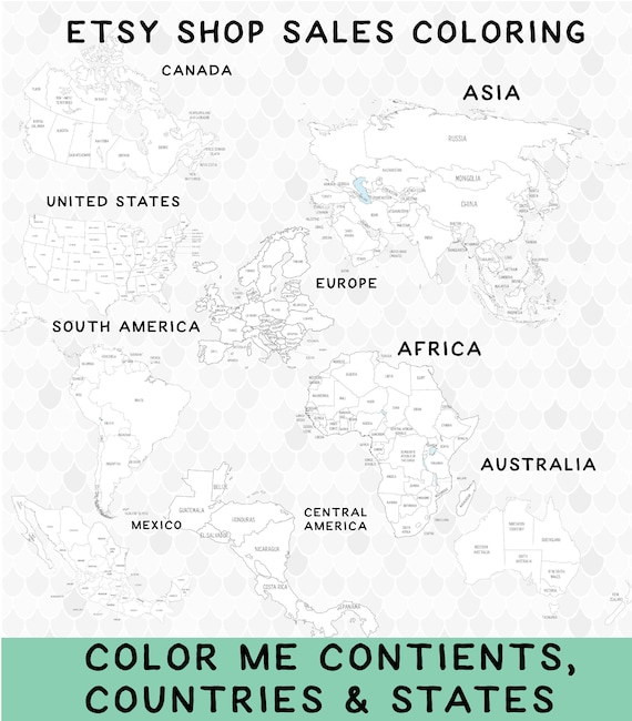 printable world map coloring continents etsy with countries il 570xn j24d is papyrus coloring pages World Map Coloring Page With Countries