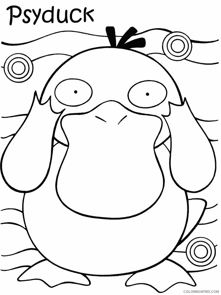 psyduck pokemon characters printable coloring coloring4free print color book frozen anna coloring pages Psyduck Coloring Page
