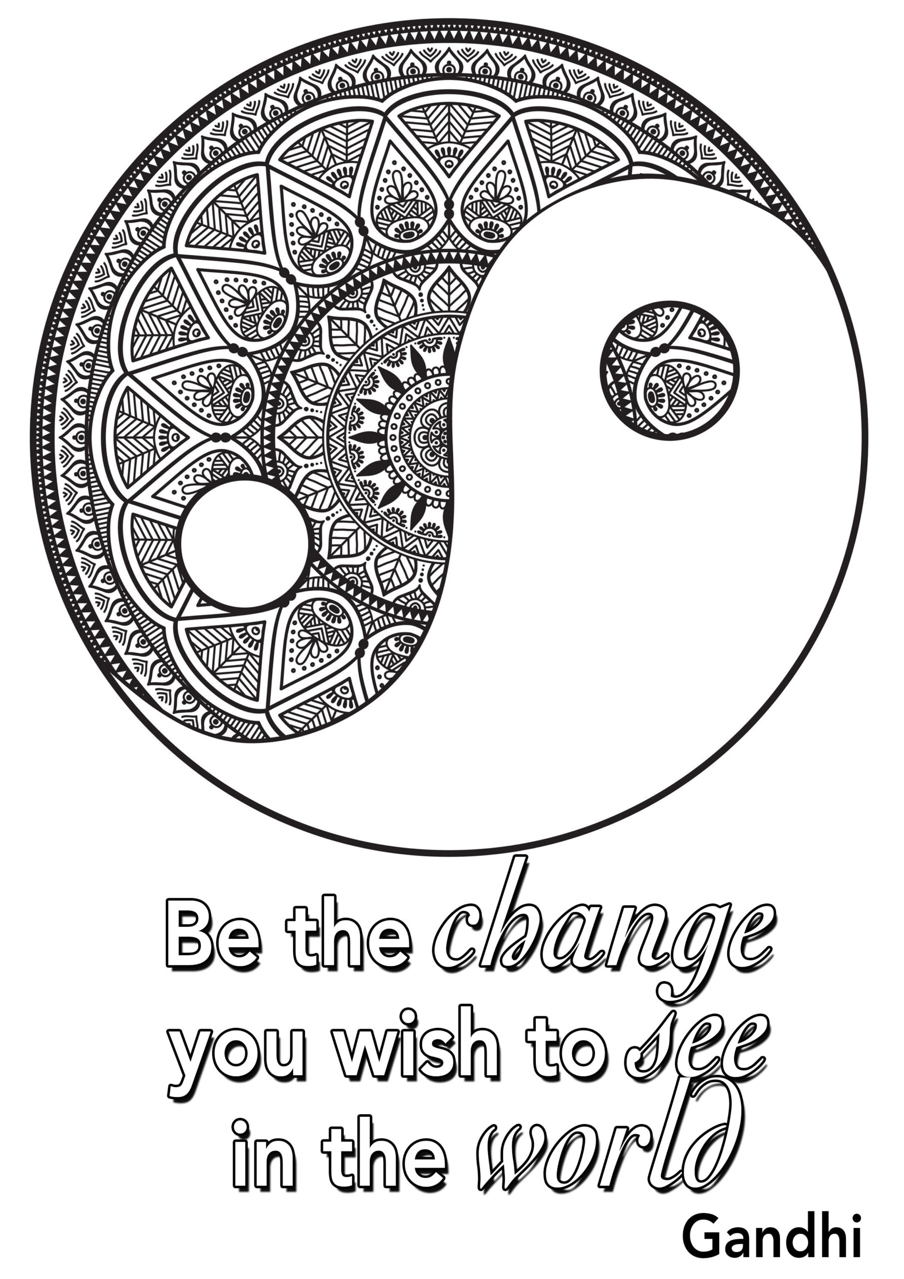 quote the change you wish to see in world positive inspiring quotes adult coloring wash coloring pages Quotes Coloring Page
