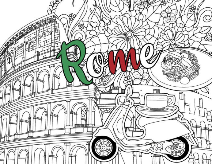 rome coloring colosseum pdf sheet by erikavectorika thehungryjpeg ori coloring pages Italy Coloring Page
