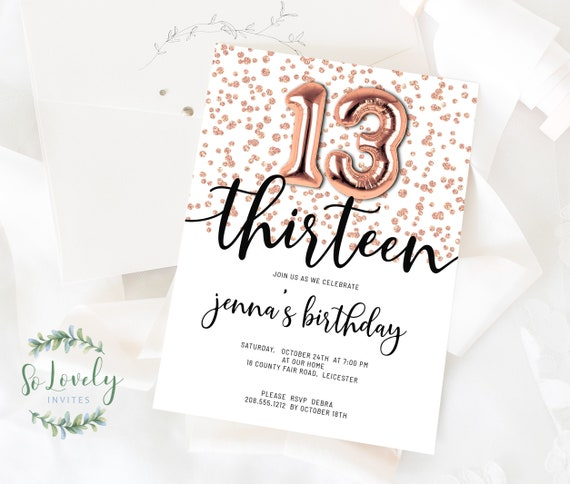 rose gold glitter 13th birthday invitation editable etsy year old invitations free coloring pages 13 Year Old Birthday Invitations Free Printable