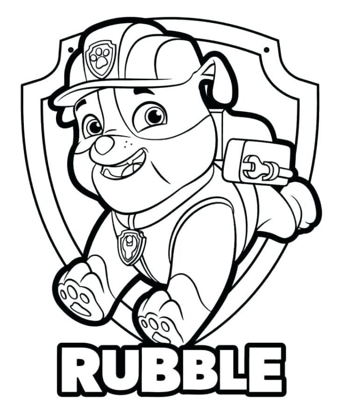 rubble paw patrol coloring youngandtae printables prefer purple to puffy printable owl coloring pages Rubble Paw Patrol Coloring Page