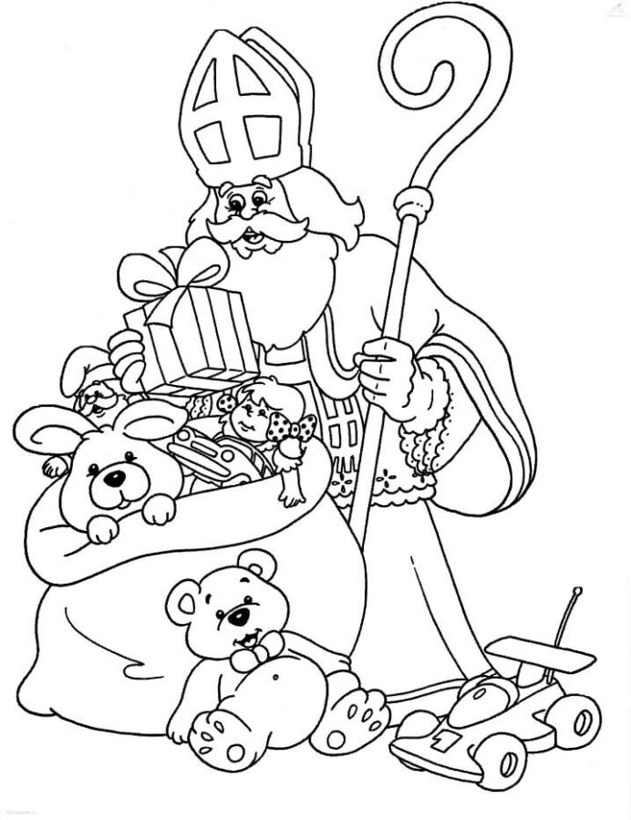 saint and gifts coloring free printable for kids silly scents gorilla spin led light up coloring pages Saint Nicholas Coloring Page