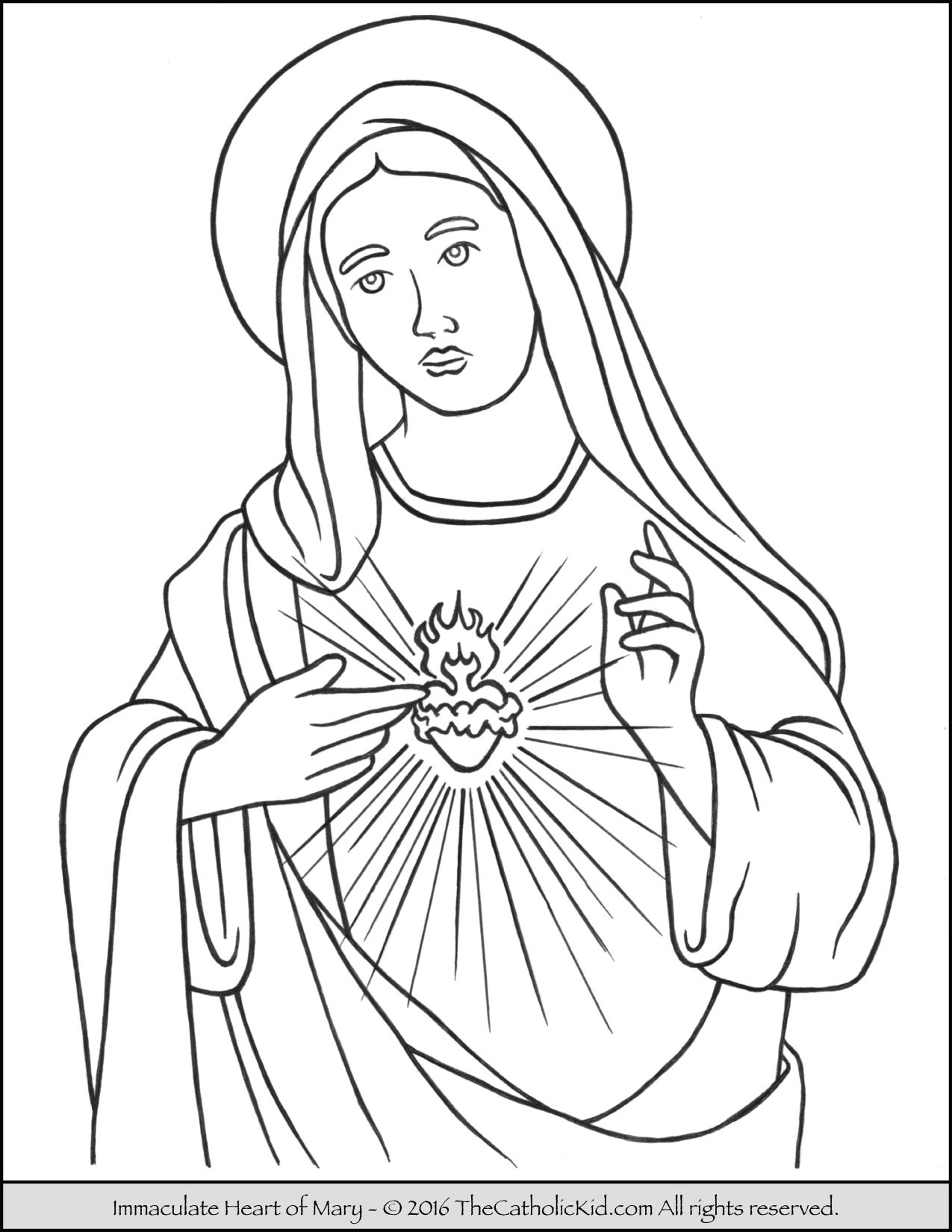 saint mary coloring pack thecatholickid immaculate heart of sheets for halloween nature coloring pages Virgin Mary Coloring Page
